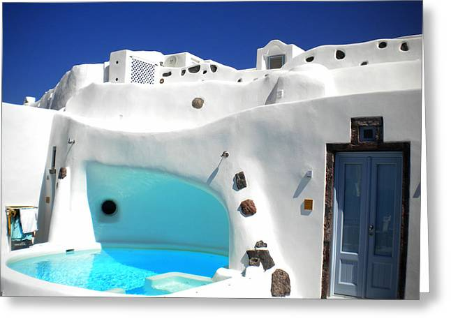 Greeting Card featuring the photograph Oia Santorini  With Direct View To The Oceon Greece by Colette V Hera  Guggenheim