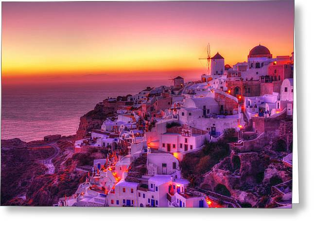 Oia Sunset Greeting Card