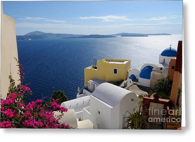 Oia Village In Santorini Island  Greeting Card