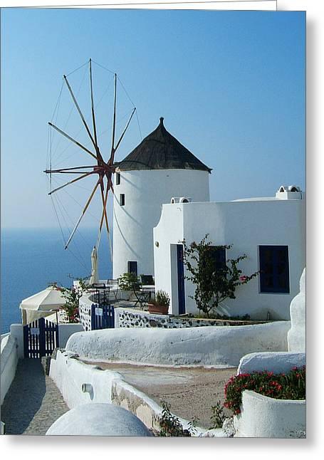 Oia Windmills Greeting Card