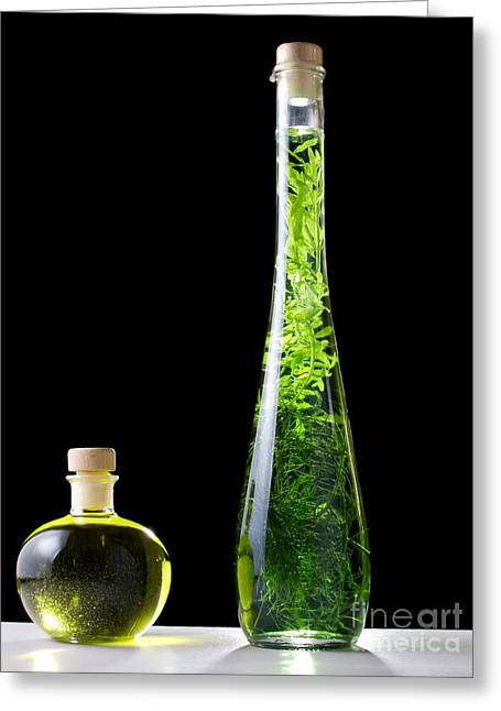 Oil And Alcohol Greeting Card by Sinisa Botas