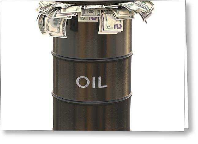 Oil Barrel With Us Dollars Greeting Card