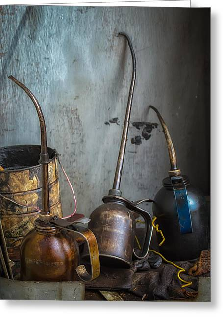 Oil Cans Greeting Card by James Barber