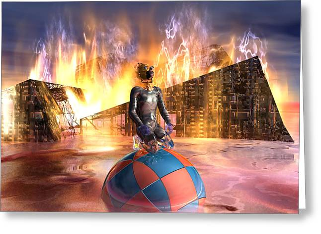 Oil Child Night Of The Fire #19_dd Greeting Card by Stephen Donoho