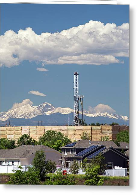Oil Drilling Rig Near Homes Greeting Card by Jim West