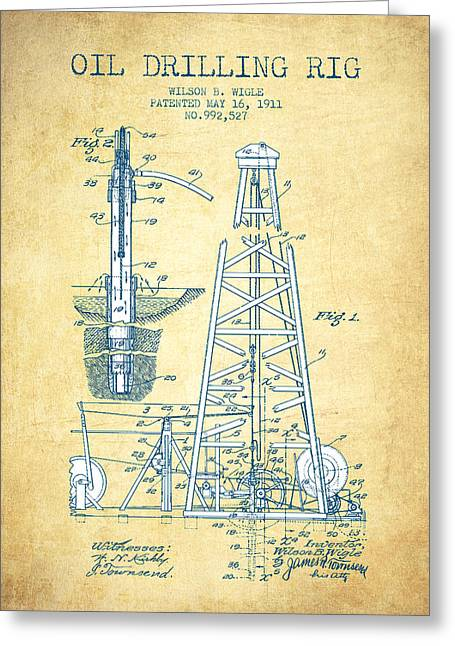 Oil Drilling Rig Patent From 1911 - Vintage Paper Greeting Card by Aged Pixel