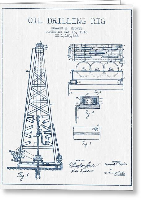 Oil Drilling Rig Patent From 1916 -  Blue Ink Greeting Card by Aged Pixel