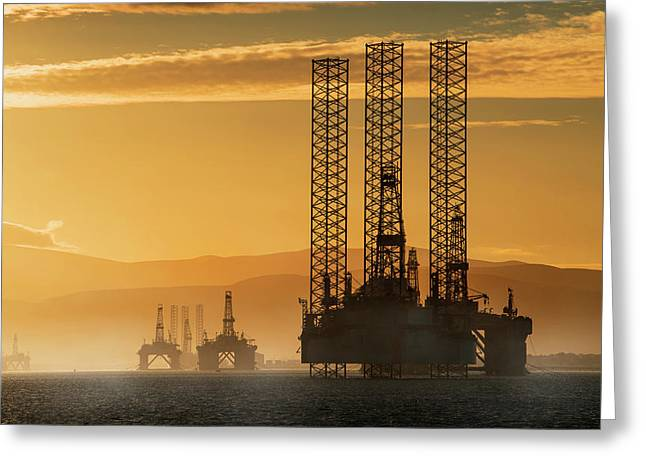 Oil Drilling Rigs Out In The Ocean Greeting Card