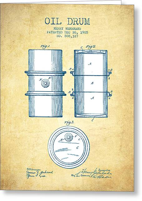 Oil Drum Patent Drawing From 1905 - Vintage Paper Greeting Card by Aged Pixel