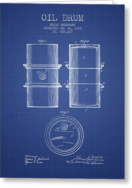 Oil Drum Patent From 1905 - Blueprint Greeting Card by Aged Pixel