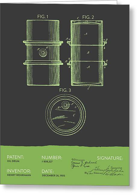 Oil Drum Patent From 1905- Gray Green Greeting Card by Aged Pixel