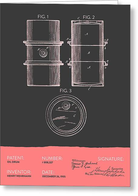 Oil Drum Patent From 1905- Gray Salmon Greeting Card by Aged Pixel