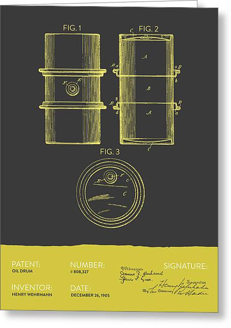 Oil Drum Patent From 1905- Gray Yellow Greeting Card by Aged Pixel