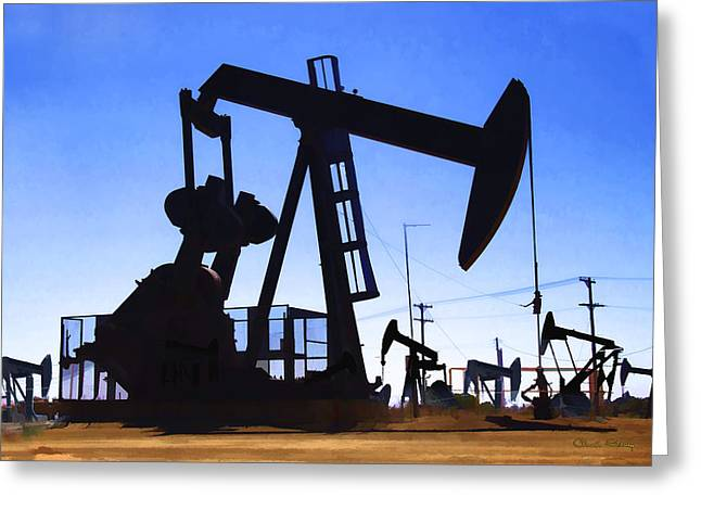 Oil Fields Greeting Card by Chuck Staley
