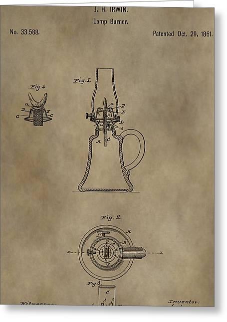 Oil Lamp Patent Greeting Card