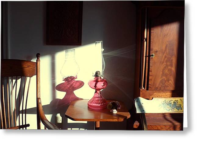 Oil Lamp Reflections Greeting Card by Gordon Maull