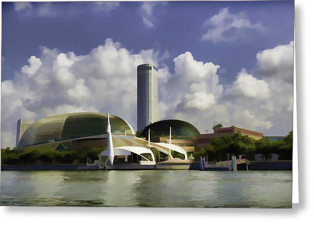 Oil Painting - A Tall Hotel The Swissotel Hotel In Singapore Greeting Card