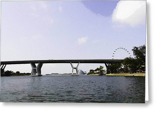 Oil Painting - Span Of The Benjamin Sheares Bridge In Singapore And The Singapore Flyer Greeting Card by Ashish Agarwal