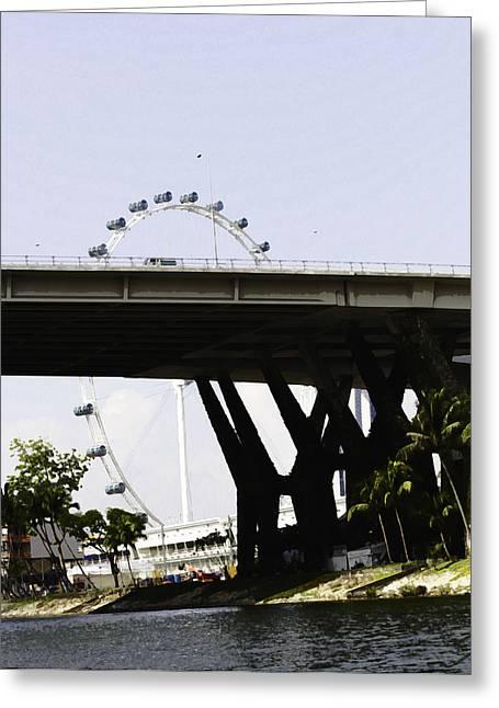 Oil Painting - Span Of The Benjamin Sheares Bridge In Singapore Greeting Card by Ashish Agarwal