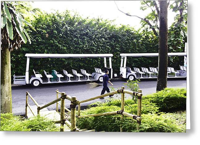 Oil Painting - Stationary Battery Powered Tourist Transport Vehicle Inside The Jurong Bird Park Greeting Card by Ashish Agarwal