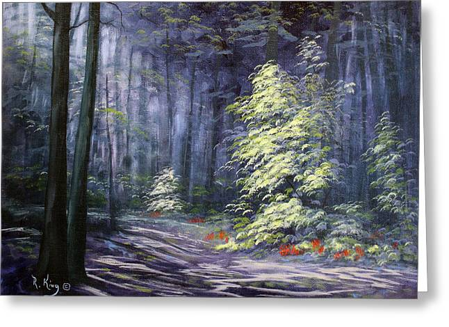 Oil Painting - Forest Light Greeting Card by Roena King