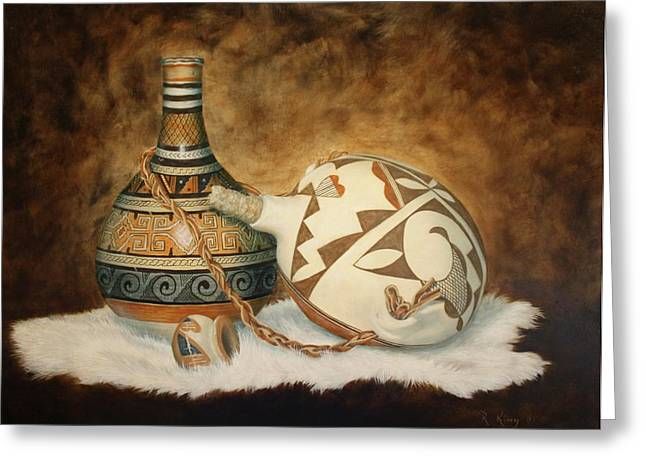 Oil Painting - Indian Pots Greeting Card by Roena King