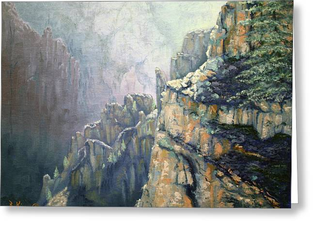 Oil Painting - Majestic Canyon Greeting Card by Roena King