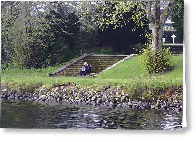 Oil Painting - Man Sitting On Steps Reading Paper On Shore Of Loch Ness Greeting Card by Ashish Agarwal