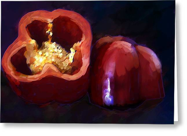 Oil Painting Of Red Pepper Greeting Card