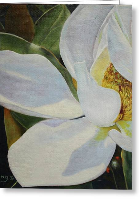 Oil Painting - Sydney's Magnolia Greeting Card by Roena King