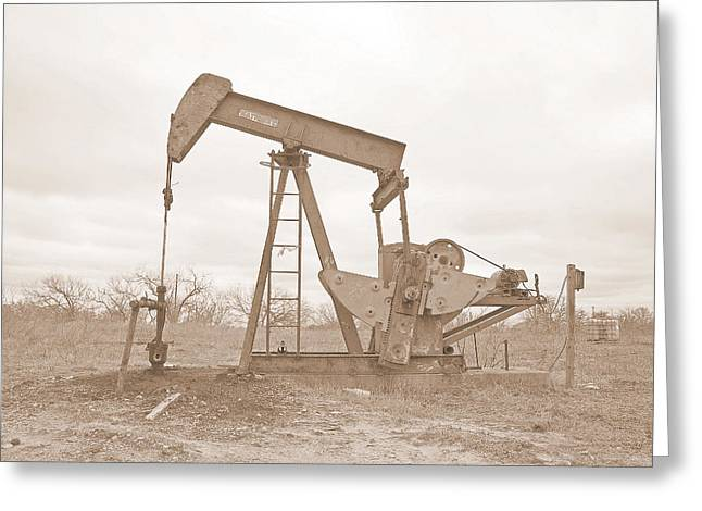 Oil Pump In Sepia Greeting Card