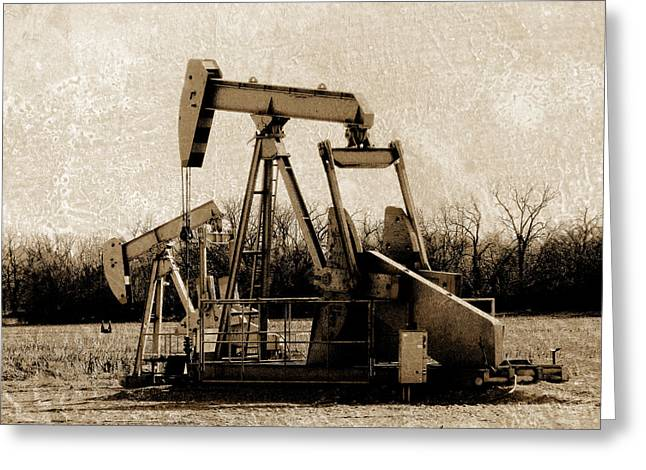 Oil Pump Jack In Sepia Greeting Card by Ann Powell