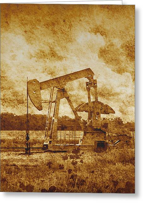 Oil Pump Jack In Sepia Two Greeting Card by Ann Powell