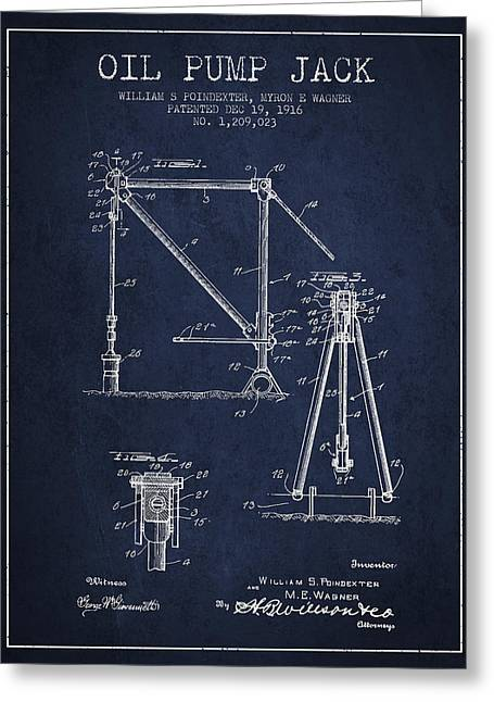 Oil Pump Jack Patent Drawing From 1916 - Navy Blue Greeting Card by Aged Pixel