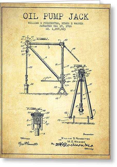 Oil Pump Jack Patent Drawing From 1916 - Vintage Greeting Card by Aged Pixel