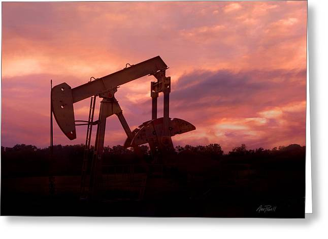 Oil Pump Jack Sunset Greeting Card by Ann Powell
