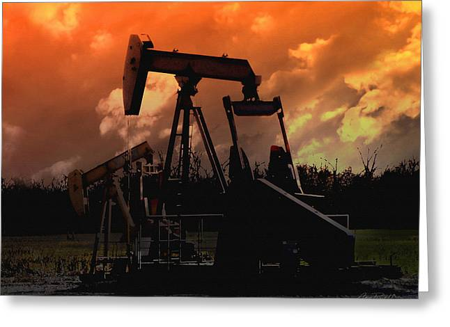 Oil Pump Jack With Colorful Sky Greeting Card by Ann Powell