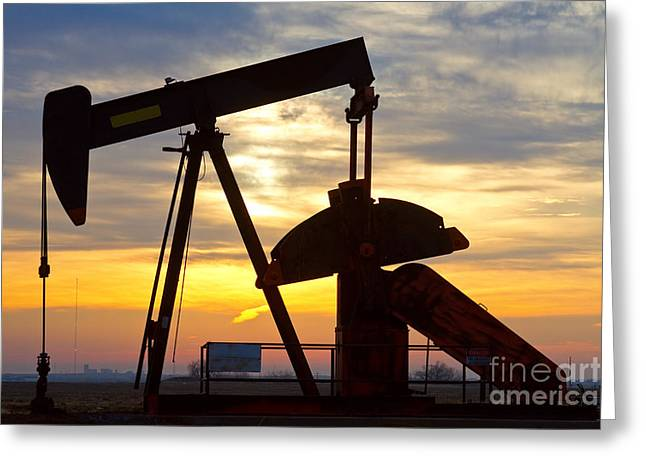 Oil Pump Sunrise Greeting Card