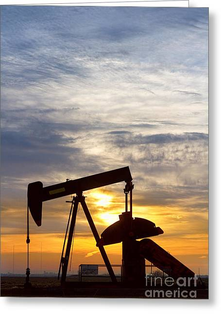 Oil Pumper At Sunrise Vertical Image Greeting Card by James BO  Insogna