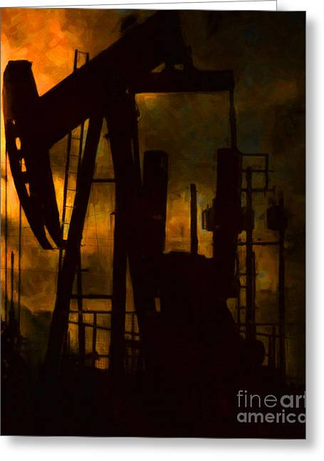 Oil Pumps - Vertical Greeting Card by Wingsdomain Art and Photography
