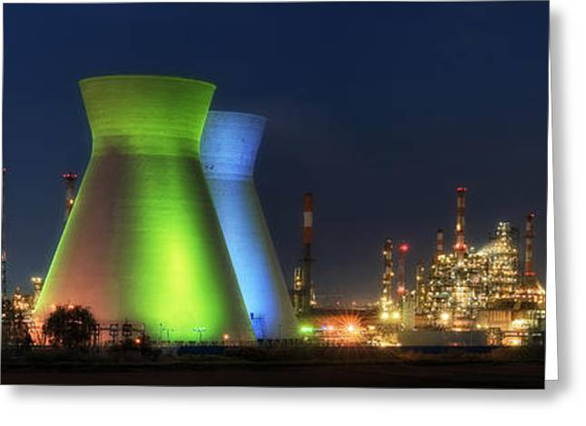 Oil Refineries Panoramic View Greeting Card by Isaac Silman
