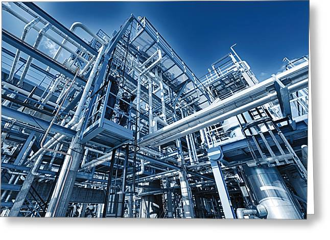 Oil Refinery And Pipelines Construction Greeting Card