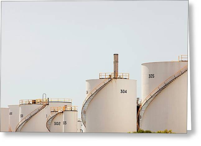 Oil Refinery Greeting Card by Ashley Cooper