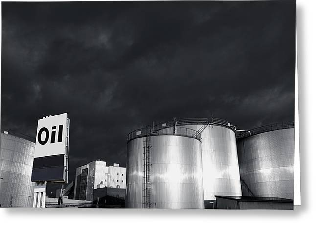 Oil Refinery At Sunset With Commercial Sign Greeting Card