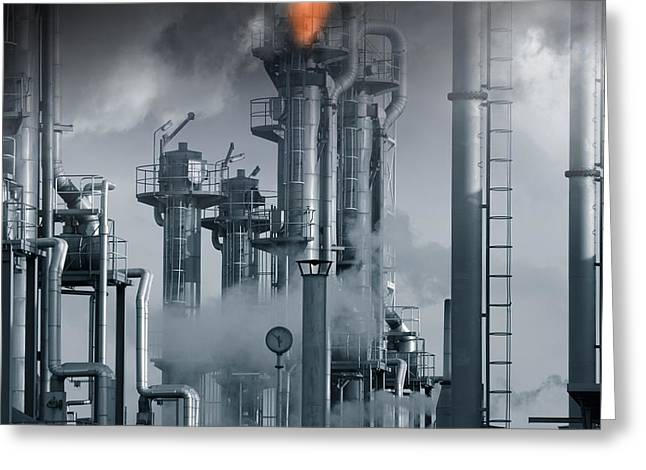 Oil Refinery Power And Energy Greeting Card