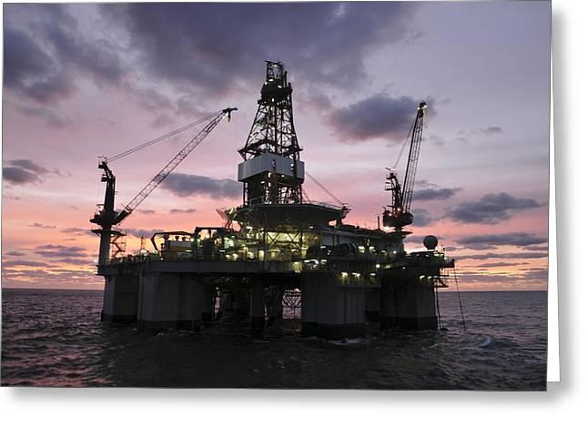 Oil Rig At Dawn Greeting Card