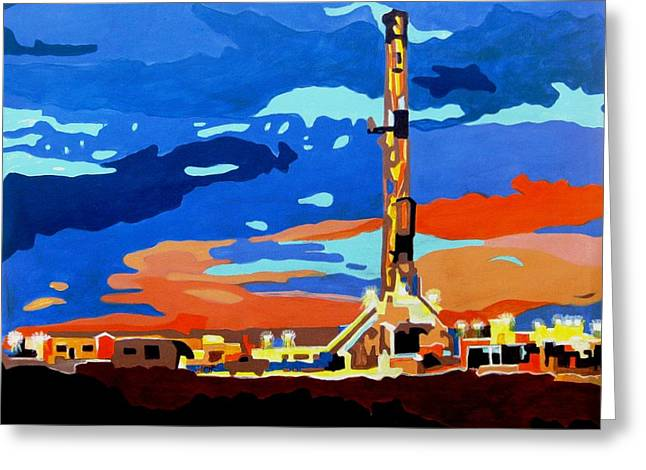 Oil Rig II Greeting Card by Diana Moya