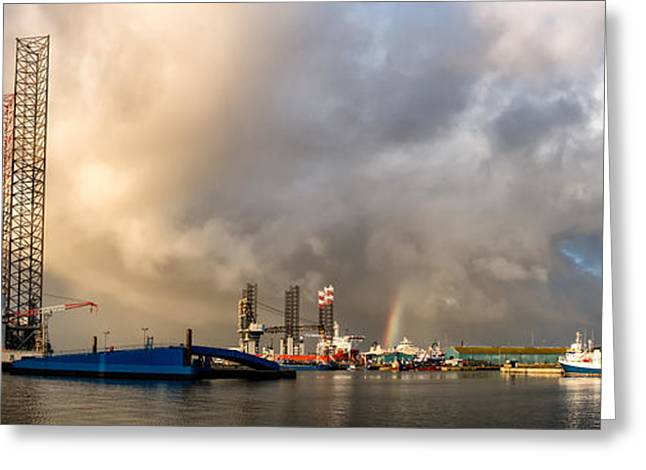 Oil Rig In Esbjerg Harbor Denmark Greeting Card
