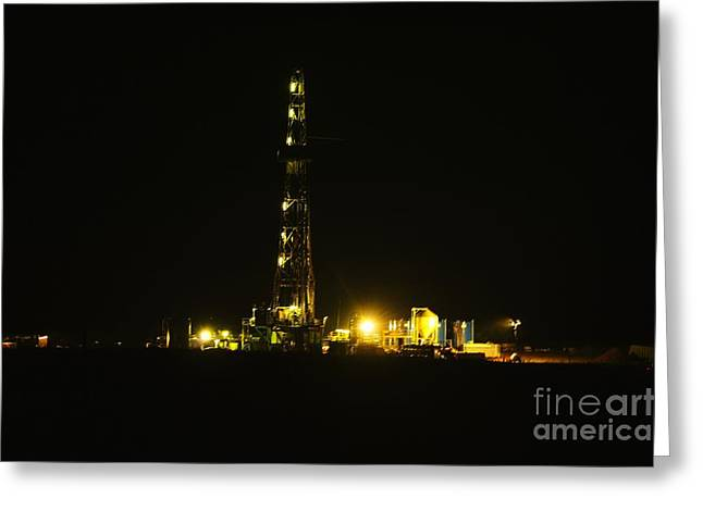 Oil Rig Greeting Card by Jeff Swan