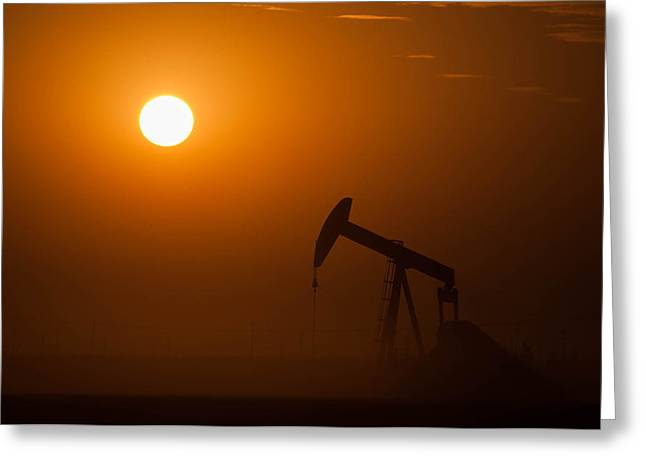 Oil Rig Pumping At Sunset Greeting Card by Connie Cooper-Edwards